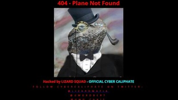 The hacked Malaysian Airlines homepage.