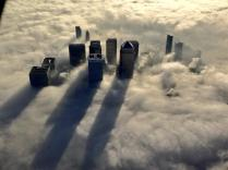 London's Canary Wharf swathed in fog.