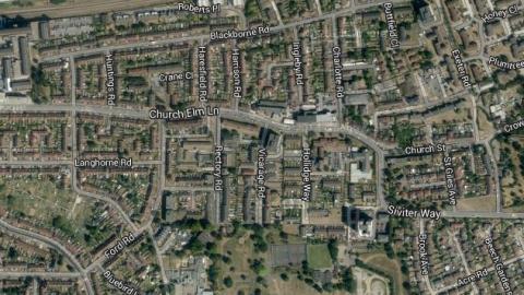 Burglaries in Daghenham fall by more than a quarter. Image: Google Satellite.