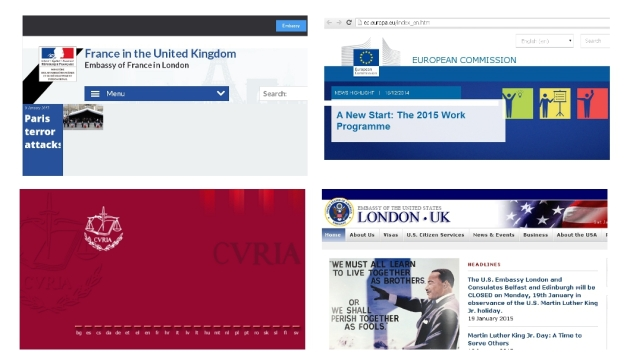 The home page for the European Commission of the EU, The EU Court of Justice, US Embassy in London and London French Embassy.