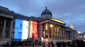 Blue white and red of the flag of France in Trafalgar Square