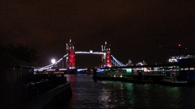 Light projection of the French Tricolore on Tower Bridge