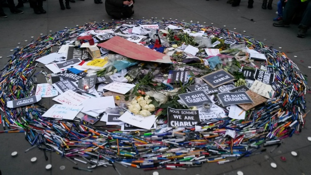 Moving tribute of pens, cartoons and posters in memory of the Charlie Hebdo terrorist victims