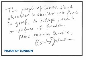 Boris Johnson's handwritten letter of sympathy for the people of Paris