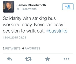 Many are using the twitter hashtag BusStrike to support the drivers of London