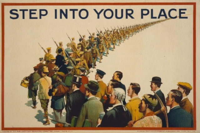 Poster showing a column of soldiers marching into the distance, while being   joined in the foreground by a variety of men in civilian attire.