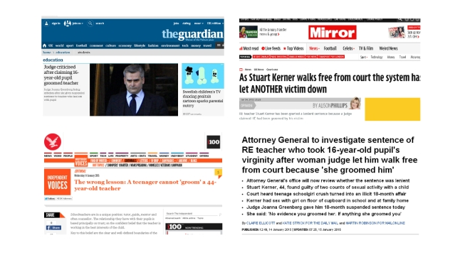 Criticism of sentence and judge's comments in Mail, Telegraph, Mirror and Independent.