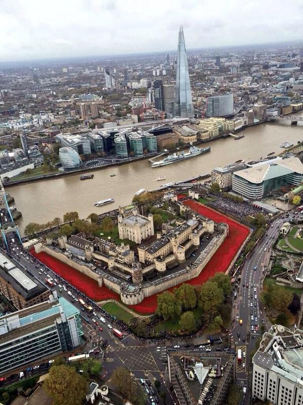 The Tower of London from the sky and the moat of ceramic red poppies in 2014