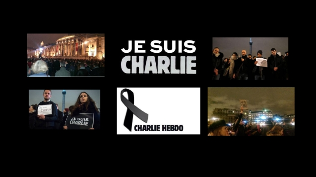 London mainstream and social media images of the Je Suis Charlie gathering in Trafalgar Square after massacre in Paris at headquarters of satirial magazine Charlie Hebdo