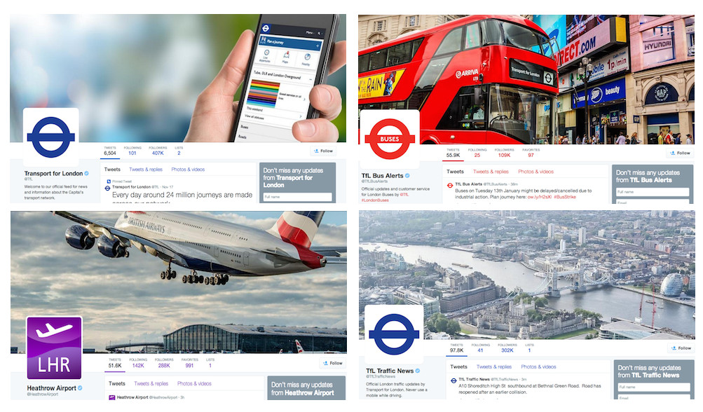 Links to travel and transport services in London