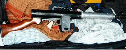 Flame-thrower in possession of one of four aggravated burglars receiving 64 years in imprisonment.
