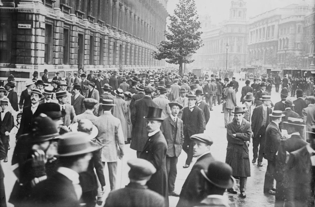 A crowd gathers in Whitehall just outside Downing Street in August 1914 after Britain declares war on Germany.
