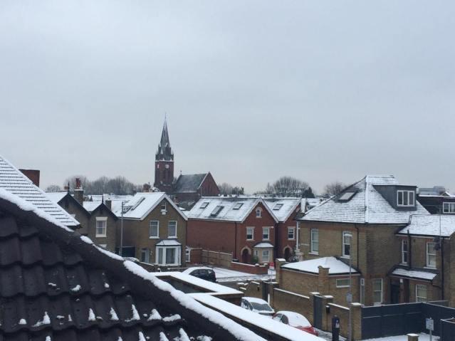 Snowy rooftops in Kingston