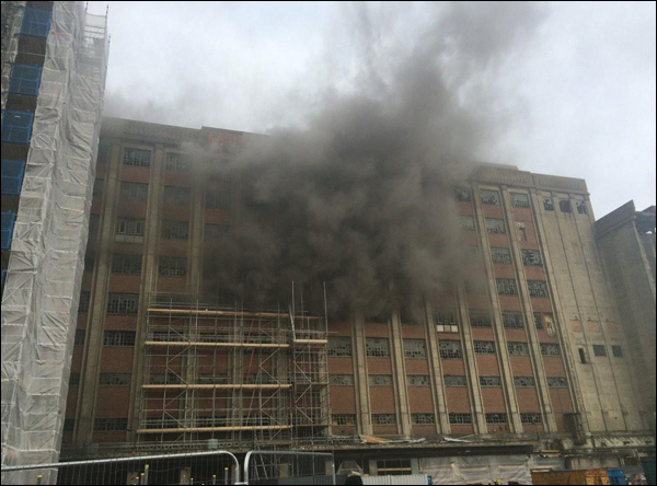 Disused flour mill fire