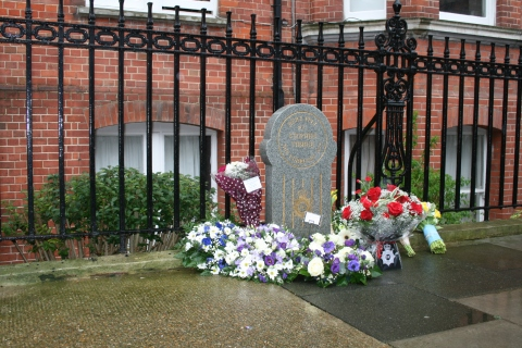The memorial plaque for PC Tibble was erected in 1992 at the spot where he was killed on Charleville Road in Barons Court, Hammersmith.  Image: Met Police