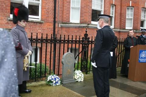Met Police Commissioner Sir Bernard Hogan=Howe at comemmoration service on 40th anniversary of PC Stephen Tibble's murder