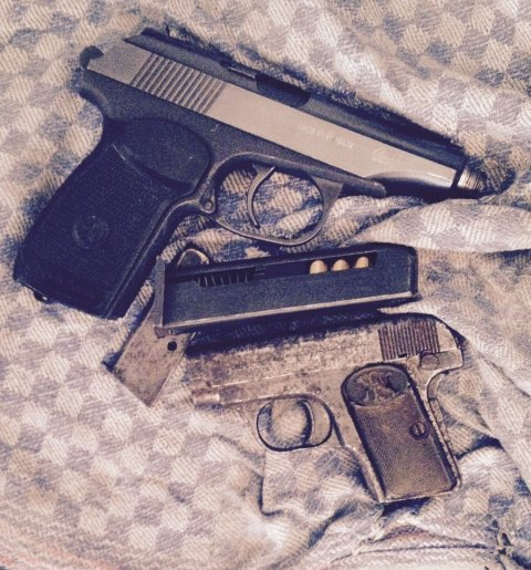 Trident officers seize firearms.