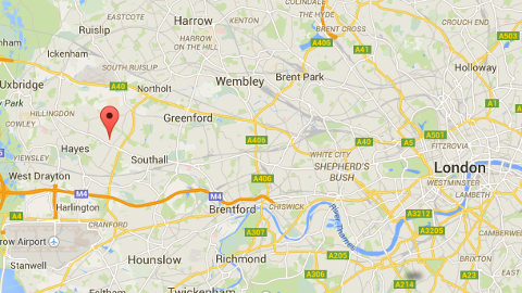 The location of the burglary in Hayes, Greater London