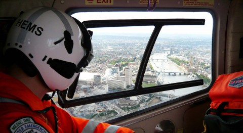 view from inside of the helicopter, click to donate