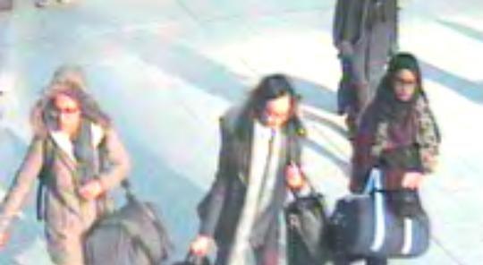 Shamima Begum, Kadiza Sultana and Amira Abase at Gatwick Airport travelling to Instanbul. Image: Met Police