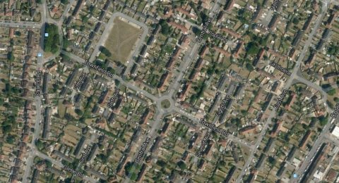 Townfield Road, Hayes. Image: Google satellite.