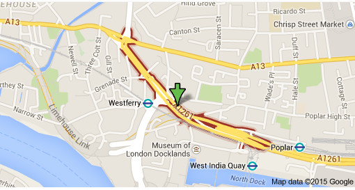 West India Dock Road.  Image: Google Maps.
