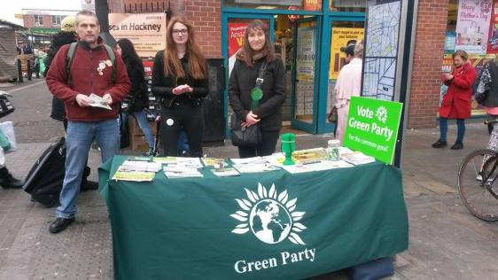Green Party candidate Ruth Finlay with supporters in Dalston for Hackney Action Day. Photo: Katie Callin