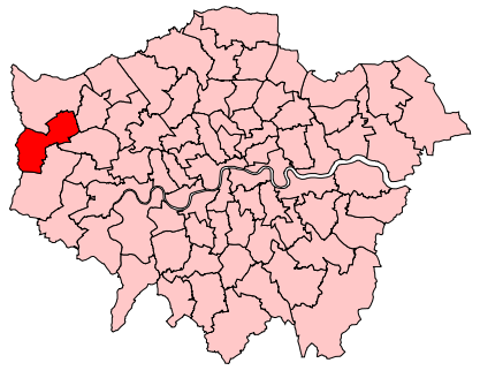 Map of the UK Parliament constituency of Uxbridge and South Ruislip.