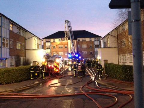 Huge rescue from 'tricky' fire spreading in block of flats in Barking. Image: @LFB