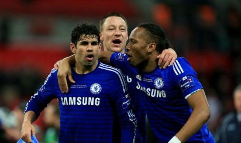 Chelsea players celebrate final whistle at Wembley after winning Capital One League Cup Final: Image: Football League