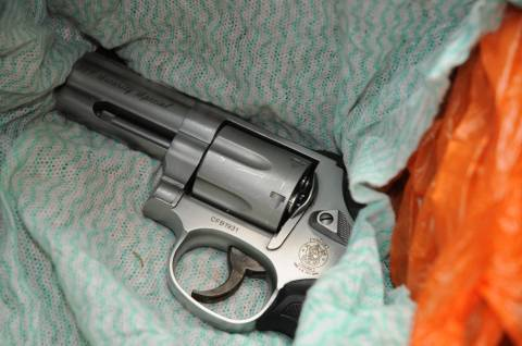 Smith and Wesson revolver found in the boot of Babatunde Arogundade's car.