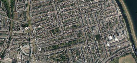 Craven Park Road area of Stamford Hill, London N15. Image: Google Satellite.