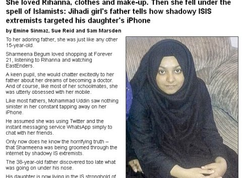 Daily Mail exclusive article with interview of father of first Bethnal Green Academy schoolgirl to travel to Islamic state in Syria in December 2014. Image: Daily Mail Online.