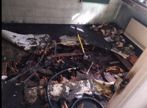 Arson suspected in fire in old disused wing of Sutton Hospital. Image: @MPS Sutton