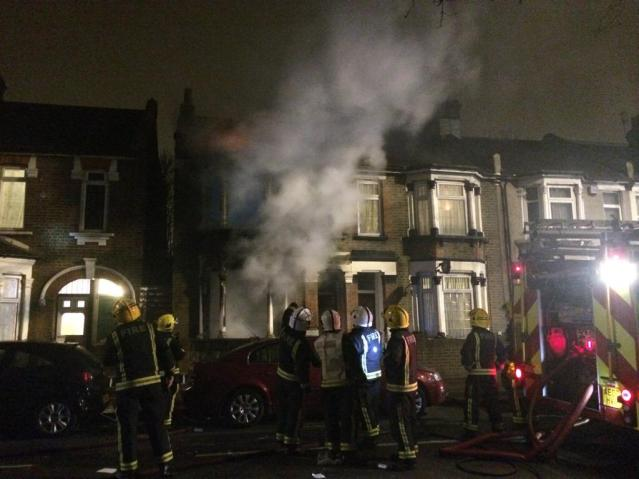 Fire in Dames Road, Forest Gate where two teenage girls rescued by London Fire Brigade using a ladder and with emergency guidance by telephone from 999 control. Image:@LAS_HART