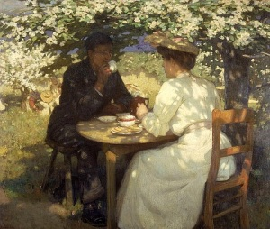 A cup of tea. Painting by Carl Fredrik Hill (1900) via Wikimedia Commons.