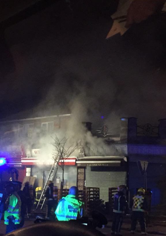 7 people taken to hospital in flat fire in Ilford. Image: @LAS_HART