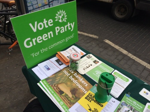 The Green Party stall on Kingsland Road. Image: Katie Rogers.