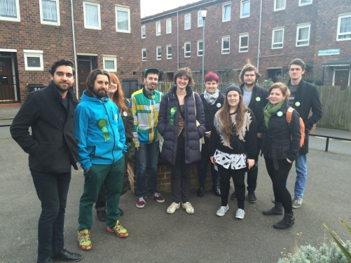 Green Party parliamentary candidate Charlotte George with volunteers canvassing Hackney South. Photo: Katie Rogers