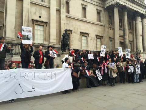 Members of London Iraqi community demonstrate against the so-called Islamic state in Trafalgar Square. Image: