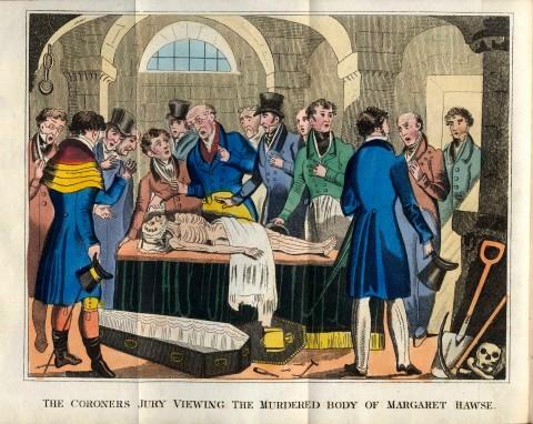 Coroner's jury viewing the murdered body