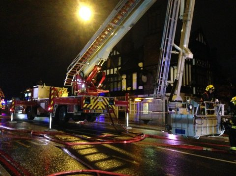 High turntable ladder appliance needed at Catford pub fire. Image: Roza Dawood