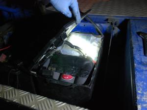 The drugs were found disguised as batteries powering the lorry. Image: Met Police.