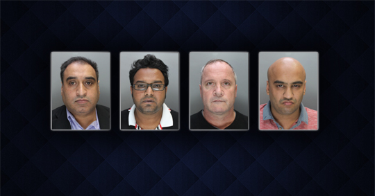Four men sentenced for money laundering. Left to right: