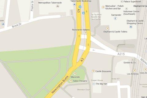 Elephant Castle and Newington Butts area- scene of alleged crimes. Image: Google Maps