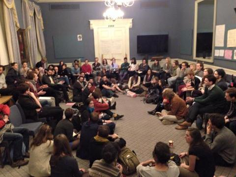 Occupation 'workshop' by students at King's College London. Image: Occupy KCL