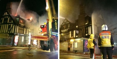 Fire in Old Copperfield Pub Catford. Image: @LFB