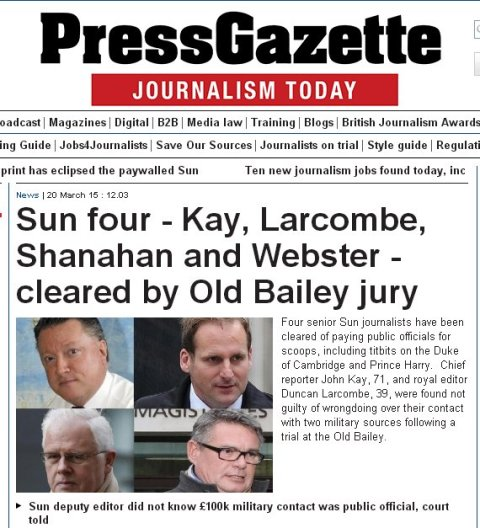 Press Gazette coverage of the acquittal of the 'Sun Four.' Image: Screen grab from http://www.pressgazette.co.uk/