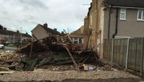 Scene of total house implosion in Rodney Way, Romford. Structural engineer to investigate. Image:@LFB