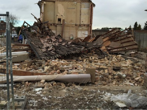 House reduced to rubble in Romford. Image: @LFB